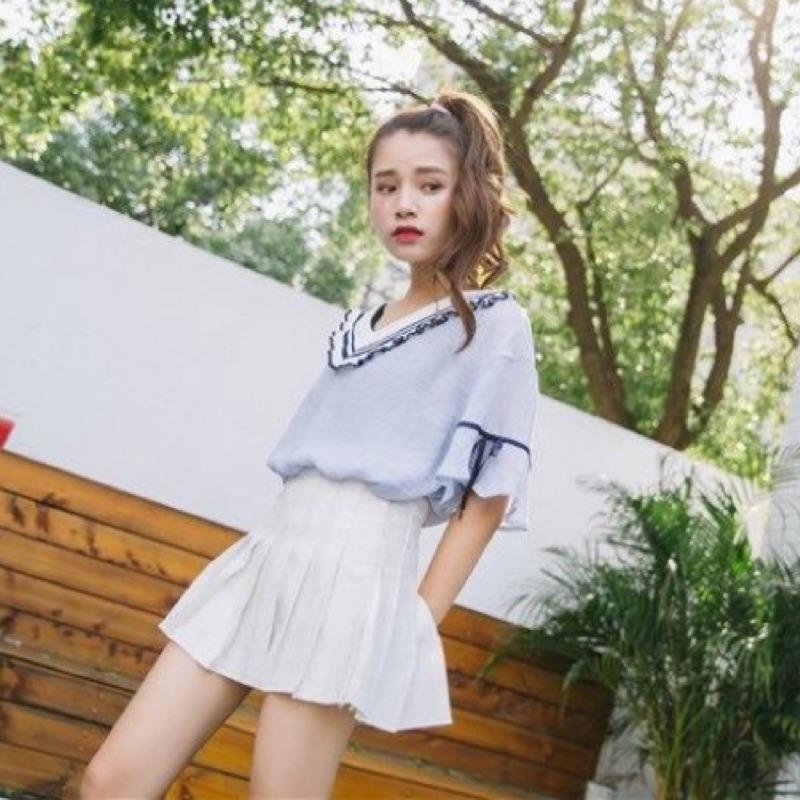 藍白 甜美寬鬆喇叭袖條紋V 領雪紡上衣短袖T 恤夏天度假甜美可愛日系復古約會