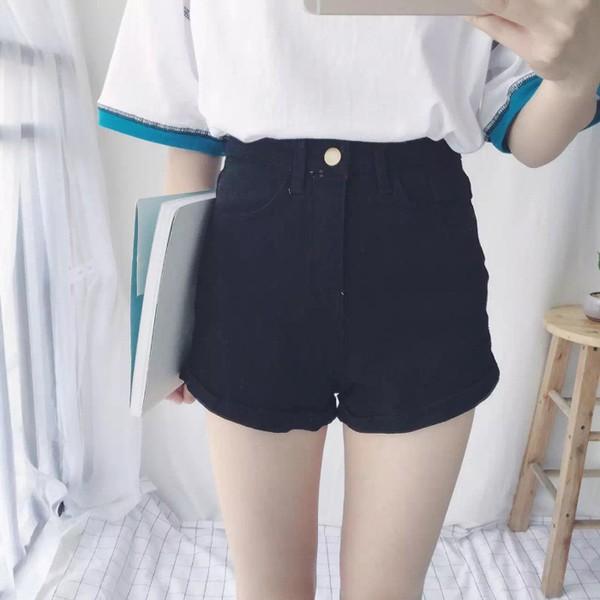 W Shop ~100 高腰修身黑色顯瘦卷邊牛仔短褲Y025