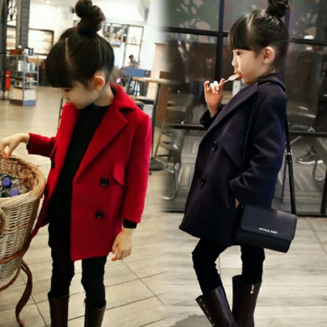 女童外套2016 秋裝 雙排扣修身款毛呢大衣西裝外套