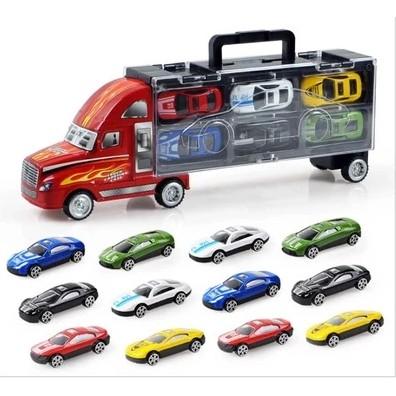 兒童模型貨櫃車模擬小汽車玩具車12 只合金車男孩玩具