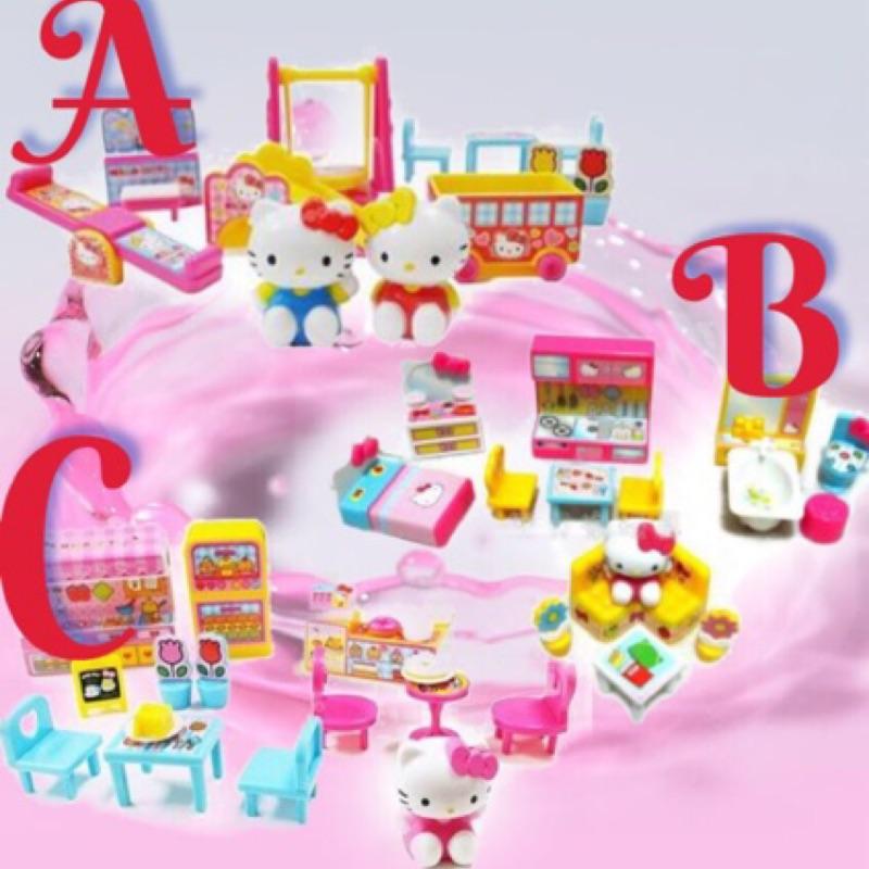 三款hello kitty 場景組幼稚園蛋糕店居家小物ST 安全玩具扮家家酒系列場景玩具