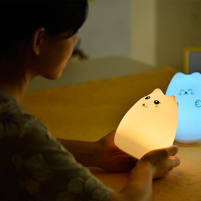 超萌Pusheen 軟矽膠夜燈FB 貓facebook 貓臉書表情生日