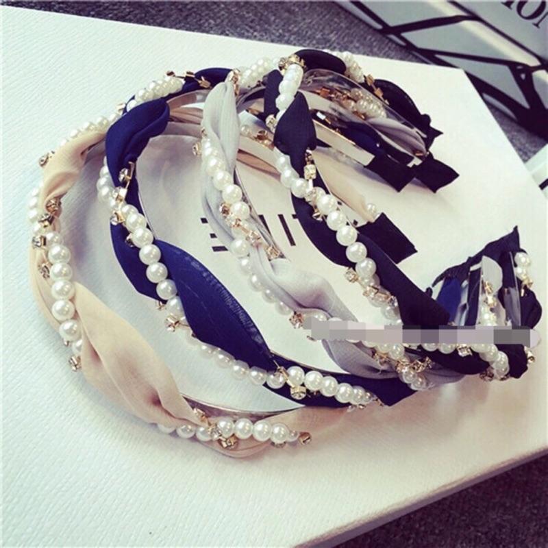 韓國直運珍珠水鑽雪紡髮箍