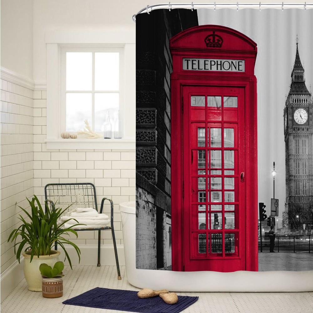 紅色電話亭大本鐘3D 印花浴簾淋浴浴室防水加厚浴帘帶環鉤