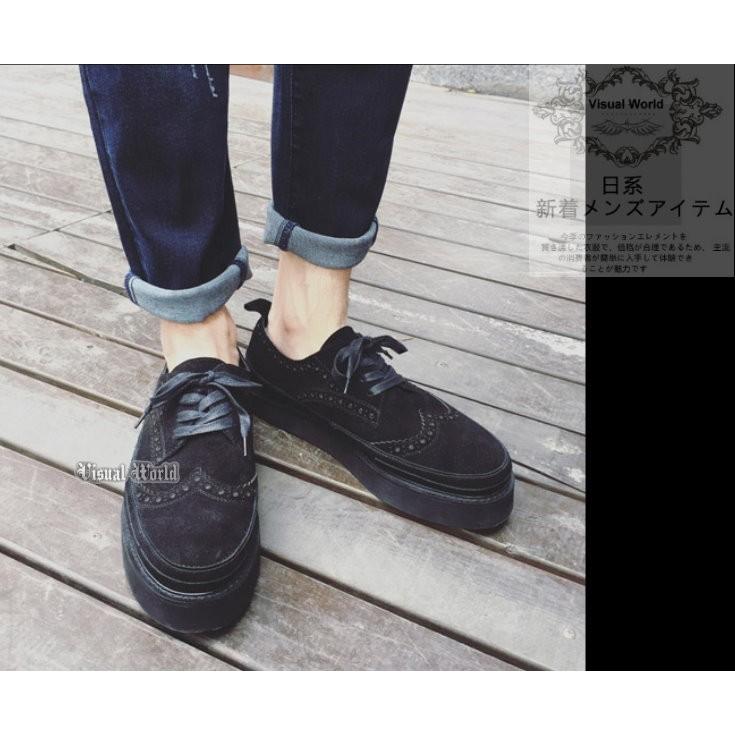 V 世界視覺系龐克英倫布洛克雕花絨布松糕厚底鞋增高鞋