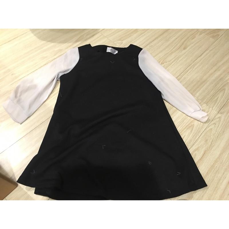 韓標正韓傘狀細肩帶平口小可愛長版洋裝蕾絲V 領上衣(m 號)