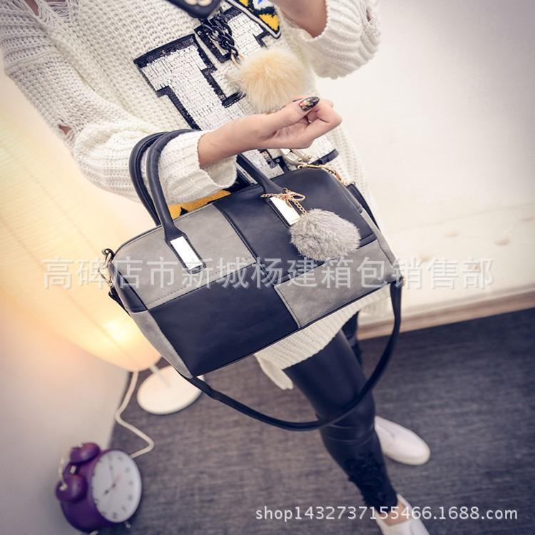 2015  十字拼接圓桶包包女士手提單肩斜跨包包女包毛球包