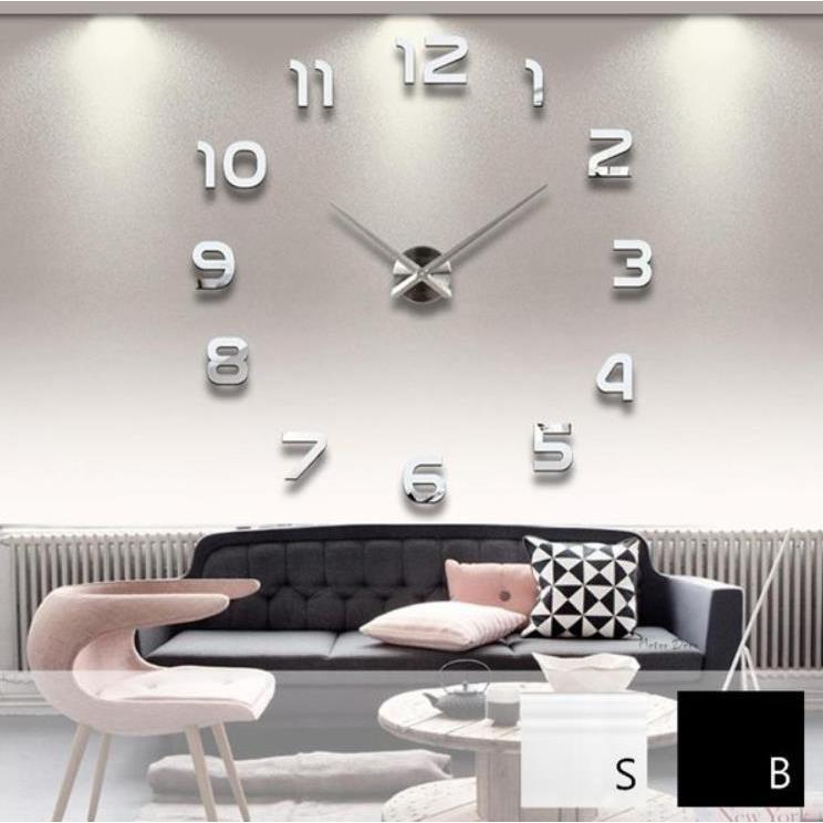 DIY 超大立體壁貼時鐘靜音掛鐘 鏡面 兩色互變 數字款浪漫 特色時鐘米鹿家居