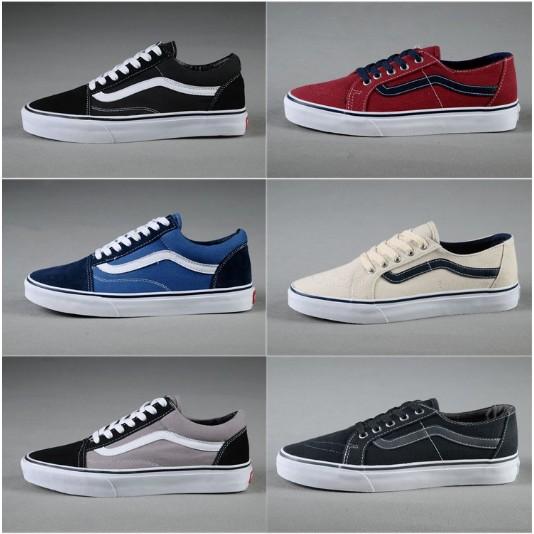 免 Vans 滑板鞋 黑白情侶款萬斯男女鞋低幫黑白帆布鞋