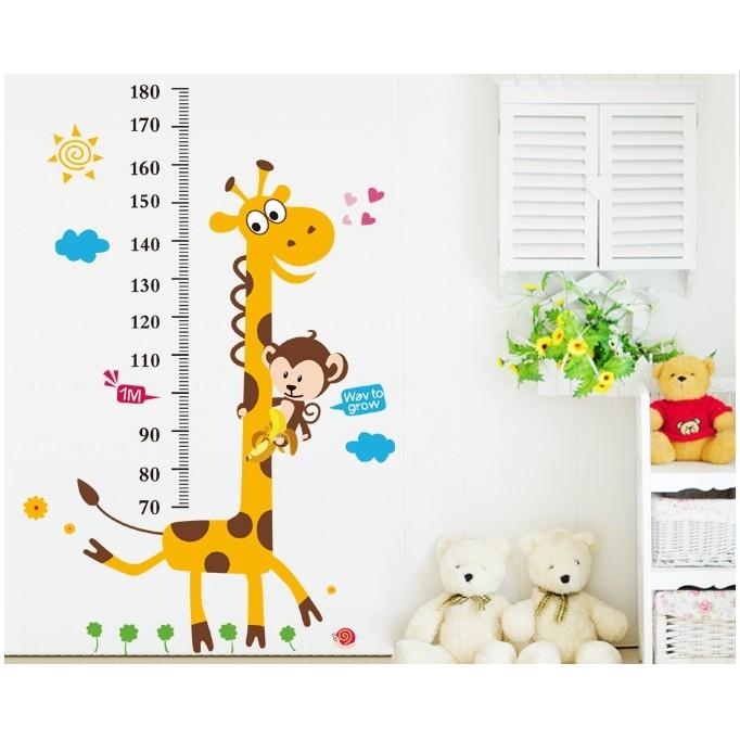 身高尺壁貼系列:長頸鹿身高尺可移除壁貼壁紙貼紙牆貼
