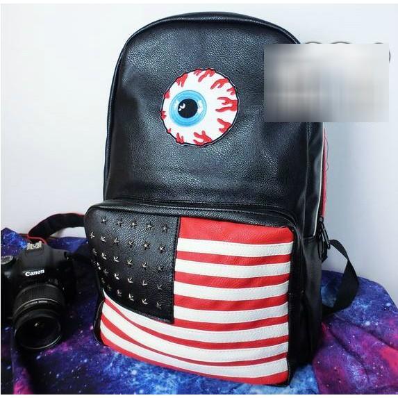 ■7 11 免 ■ 美國國旗原宿風潮流血絲眼球鉚釘雙肩包後背包男女背包書包旅行包皮革