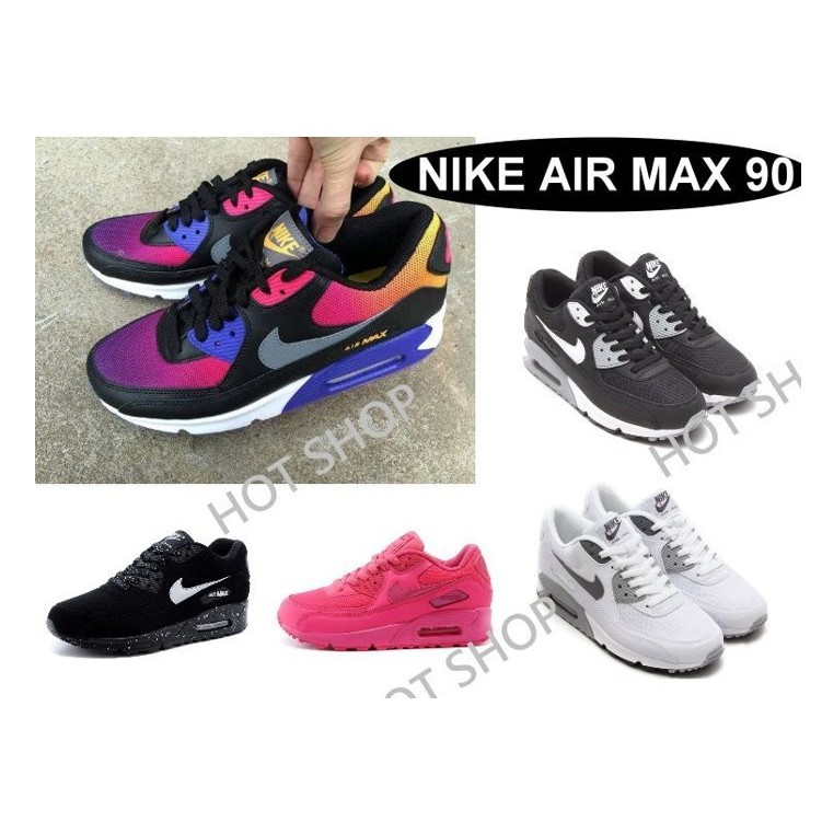 NIKE AIR MAX 90 ESSENTIAL 鞋GS 氣墊鞋潑墨慢跑鞋彩虹休閒鞋黑白