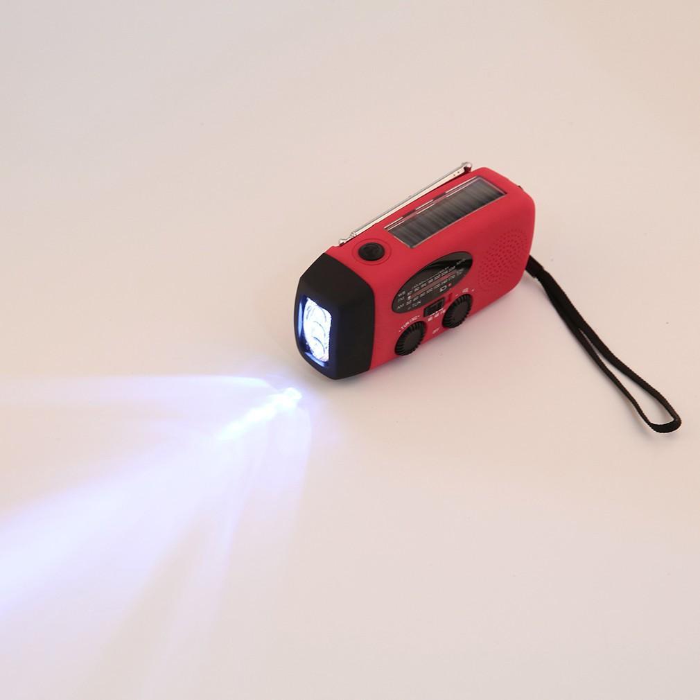 手搖發電機太陽能AM FM WB 無線電手電筒