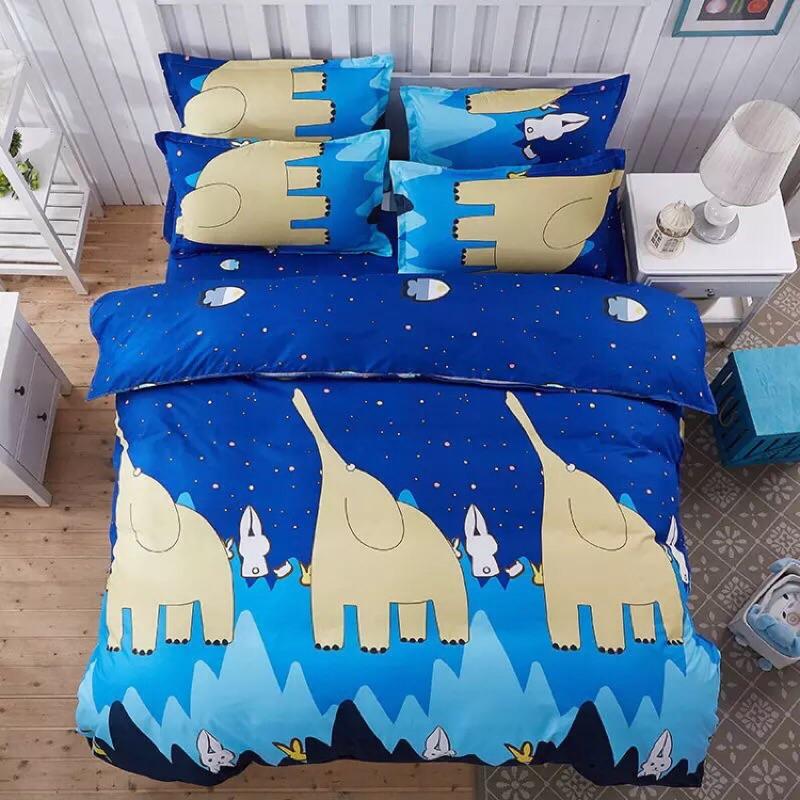 ! !彩色大象多款棉質雙人床包床單四件組