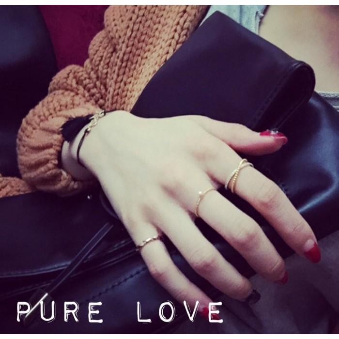 Pure Love 樂芙正韓~R0034 ~簡約X 交錯水鑽閃閃圓珠點點戒指玫瑰金銀