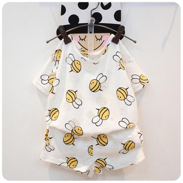夏裝新男女 可愛小蜜蜂破洞 短袖T 恤短褲套裝
