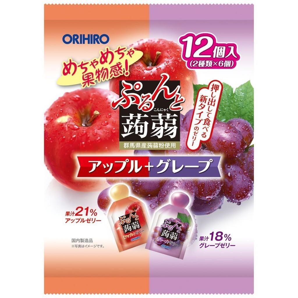 買10 包以上享 超夯ORIHIRO 果汁蒟蒻果凍雙口味綜合包(蘋果紫葡萄)12 入包