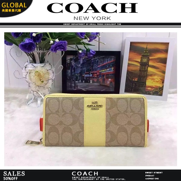 GLOBAL 美國 Coach F52859 蒄馳 拼色logo 長款女士真皮拉鏈錢包錢夾