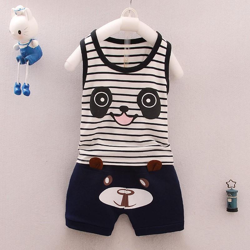~衣服 ~ 兒童套裝夏裝中小童2017 背心套裝兩件套男童寶寶熊貓 服 無袖背心套裝卡通休