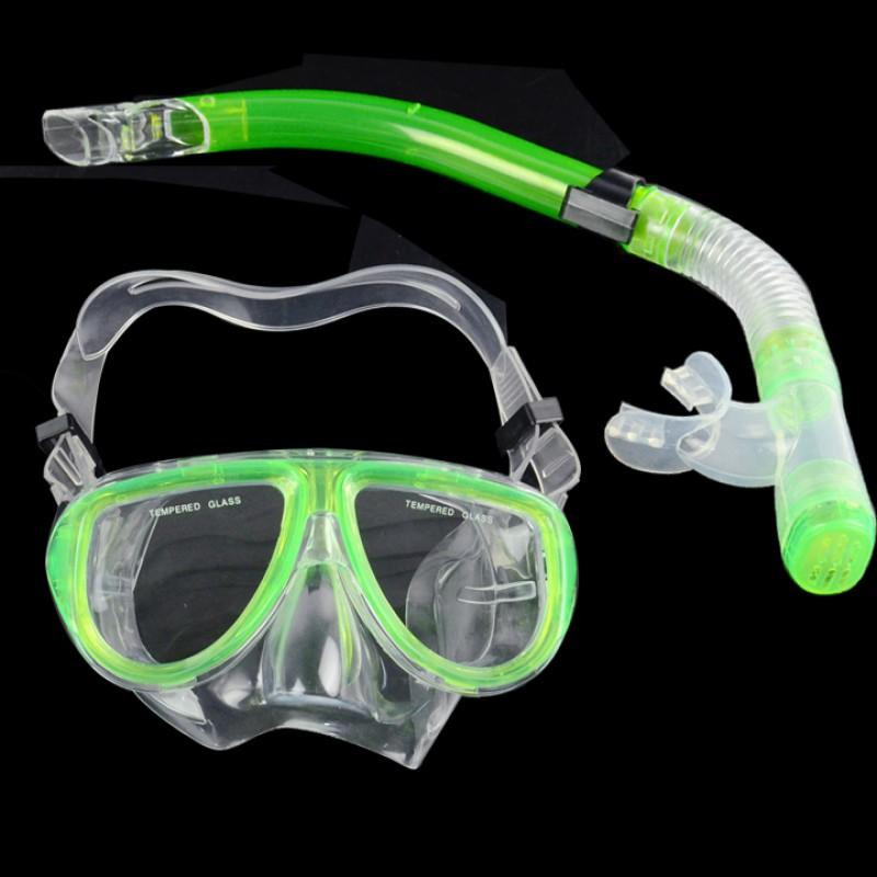 螢光潛水裝備潛水面具浮潛呼吸管套組