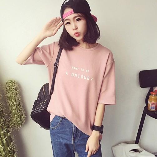 2017 夏裝字母印花原宿bf 寬松學生中袖T 恤