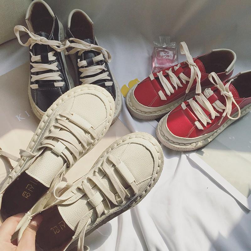 學院風日系文藝小皮鞋女學生原宿港風圓頭娃娃鞋 系帶大頭鞋潮