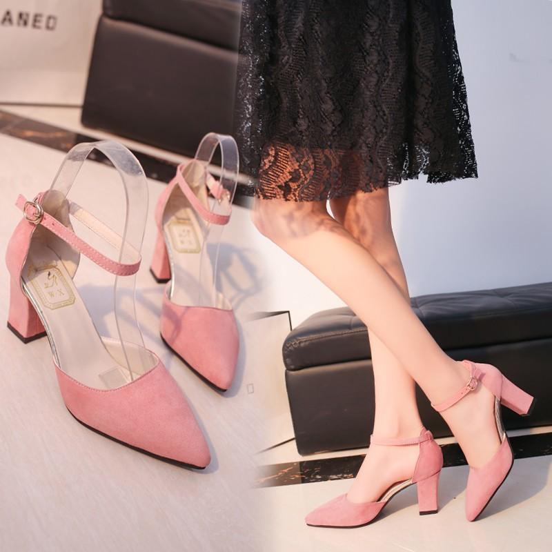 春夏 一字扣粉色高跟鞋粗跟尖頭 中空涼鞋女絨面淺口工作鞋