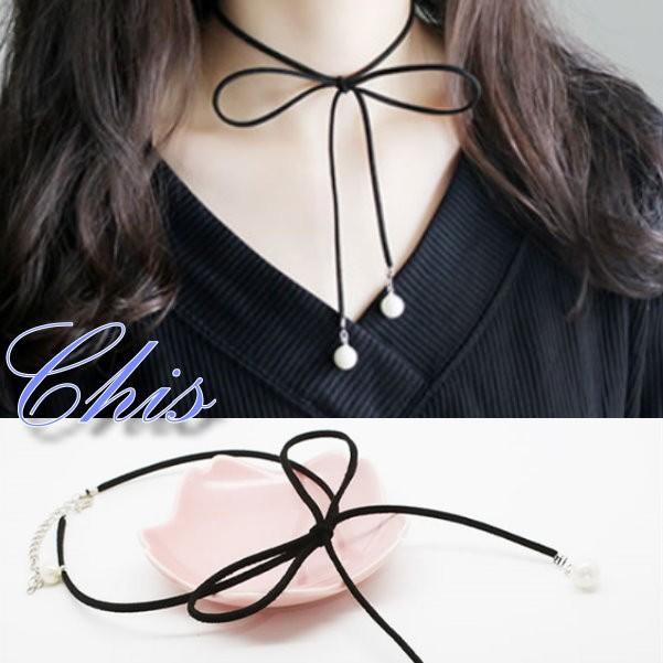 Chis Store ~麂皮蝴蝶結珍珠結尾頸鍊~韓國 皮革 圓珠珠鏤空蝴蝶頸圈項圈短項鍊鎖