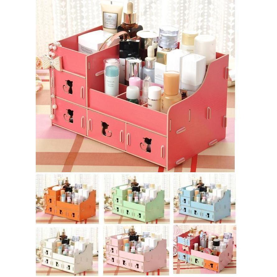 335 號倉庫M213 貓咪木質收納架木製DIY 拼裝化妝品收納箱DIY 拼裝化妝盒桌面化