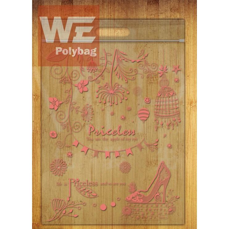 蝦皮袋鋪~粉紅無價之寶PP 手提夾鏈袋50 入~包裝袋糖果袋麵包袋餅乾袋西點袋文件袋