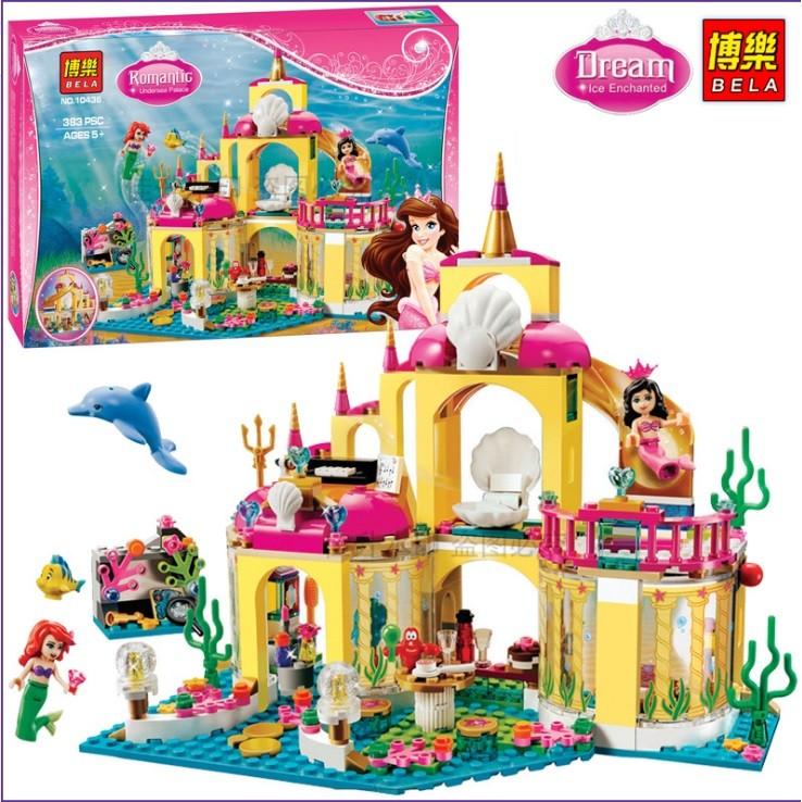 玩美積木 當天發博樂10436 美人魚公主斯愛麗兒公主的海底宮殿尼兼容樂高41063LEG