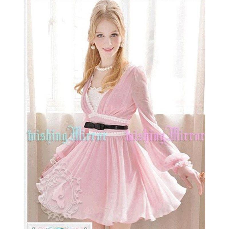 女神系洋裝雪紡長袖粉色V 領鑲拼蕾絲氣質公主袖雪紡連衣裙洋裝