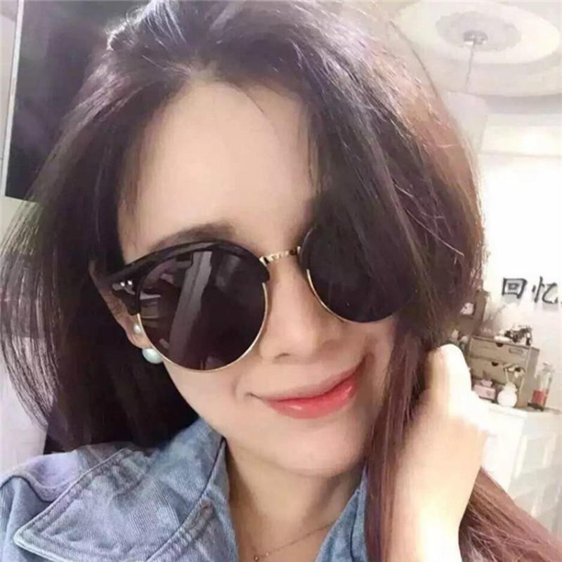 韓國大熱復古瘦臉圓框女士彩膜半框太陽鏡圓臉潮人反光墨鏡