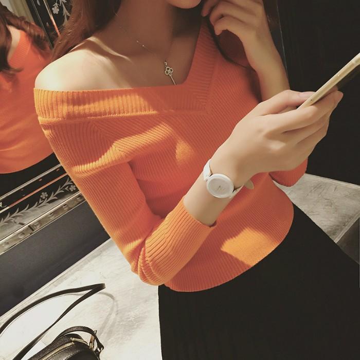 ❤ ❤ 外穿長袖T 卹女 潮女裝修身短款打底衫針織小衫性感上衣服