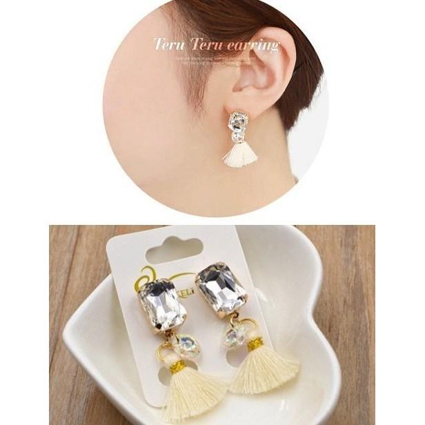 電鍍保色韓國官網同款波西米亞流蘇鑲鑽氣質耳釘防過敏耳環