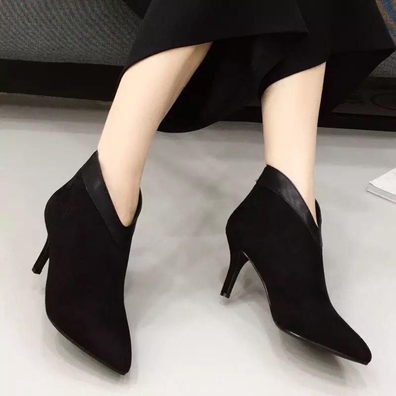 ( )氣質 女靴拼接加絨踝靴高跟鞋性感細跟短靴尖頭鞋短筒靴
