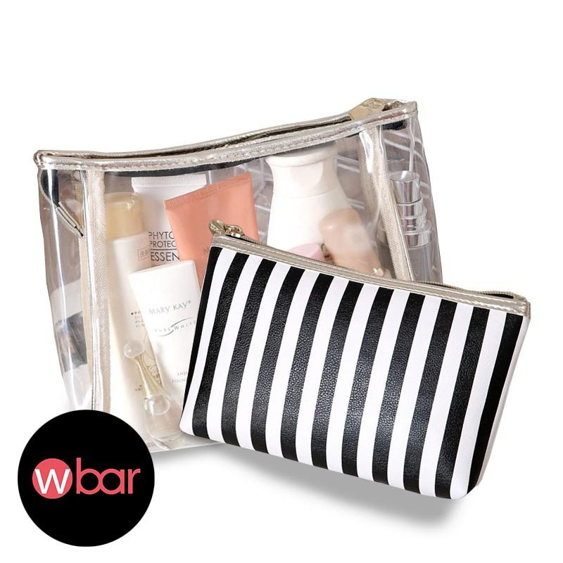 兩件組黑白條紋化妝包盥洗包防水旅行袋小物包收納包手拿包