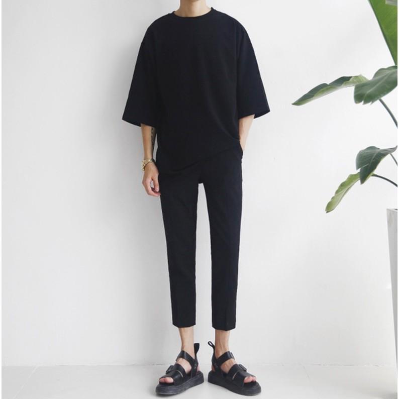 男修身西裝褲直筒褲寬鬆九分褲青年港風闊腿褲百搭