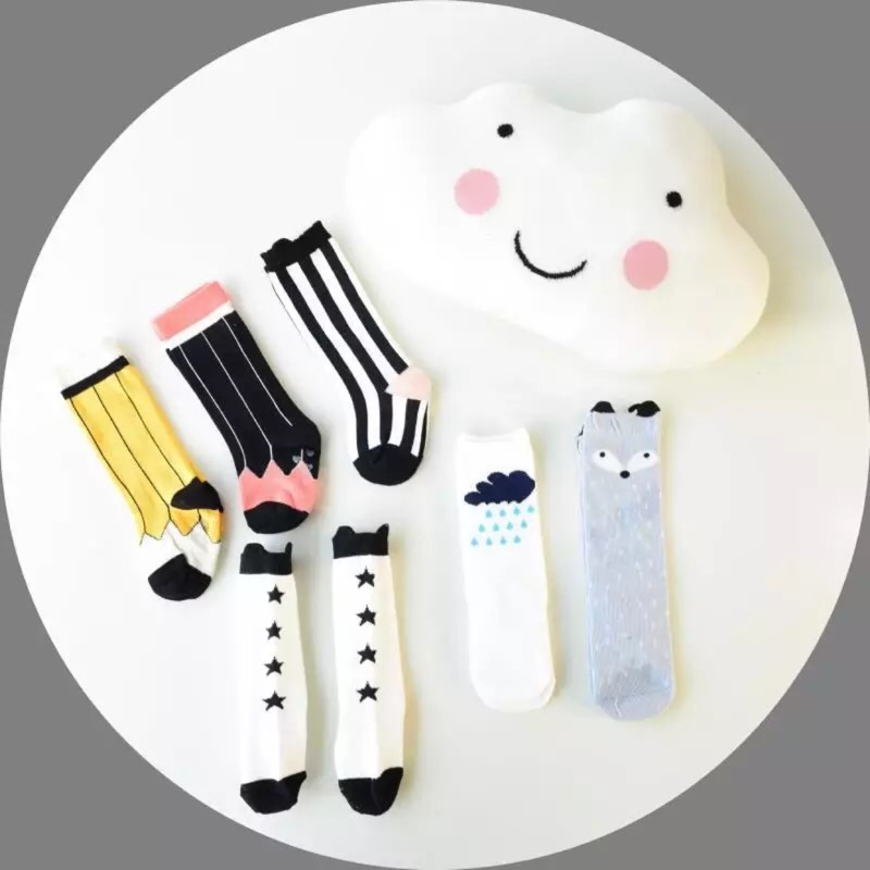 超可愛女童中筒襪直條紋星星荷包蛋❤️❤️Moira shop ❤️❤️