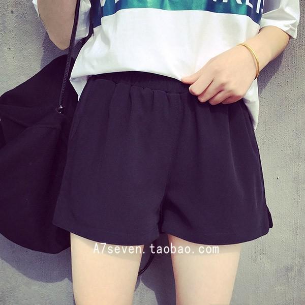 ❤黑色有 ❤ 2016 夏裝 寬鬆顯瘦黑色闊腿短褲女大碼休閒熱褲超短褲學生