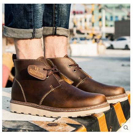 馬丁靴英倫風短靴工裝軍靴復古男靴子沙漠靴高幫男鞋 潮鞋