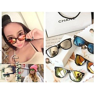 凱益美韓明星款黑膠框修飾臉型太陽眼鏡水銀反光墨鏡情侶款玩水沙灘比基尼防晒黑框眼鏡