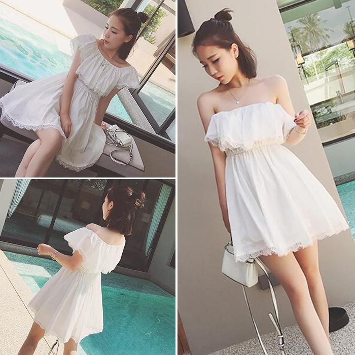 ❤ ~ ❤ 女裝 性感一字娃娃領短袖蕾絲連衣裙甜美潮仙氣短裙子