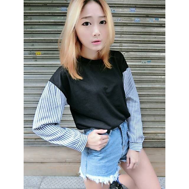 學院風直紋襯衫袖拼接T 恤知性條紋素面百搭韓系C812