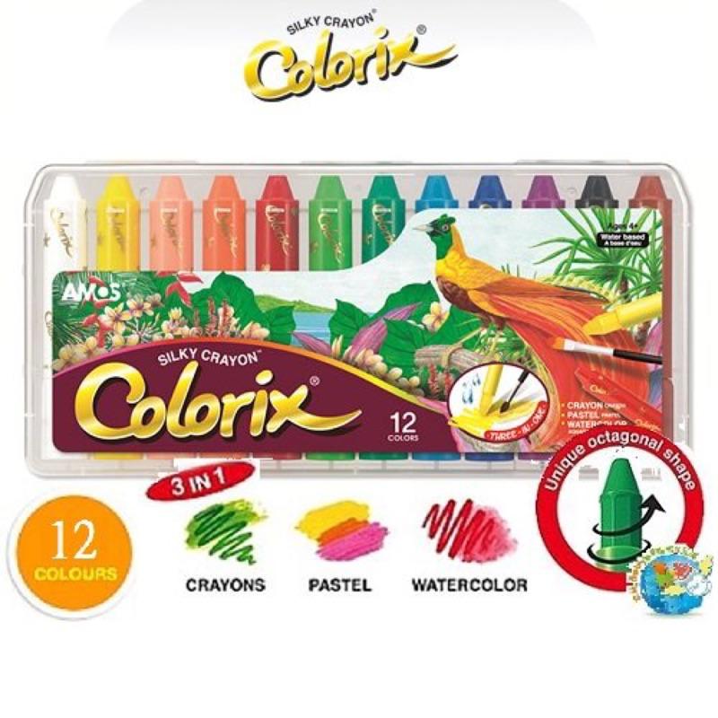 X H Baby ~韓國AMOS ~Colorix 12 色粗款多用途水彩蠟筆水蠟筆口紅旋
