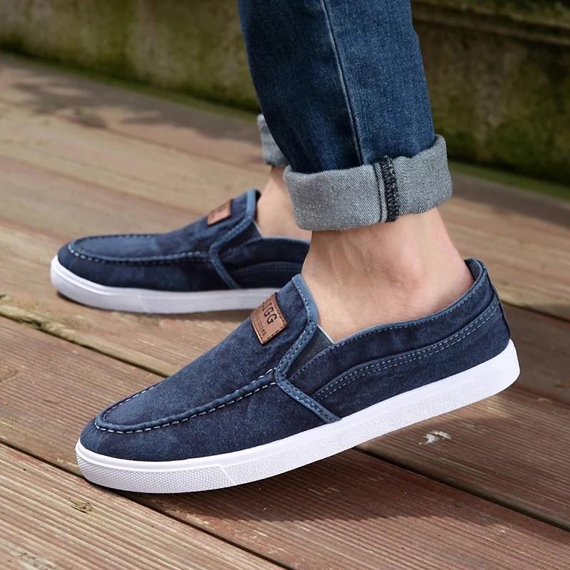 男士鞋子一腳蹬懶人鞋透氣 鞋老北京布鞋男鞋秋天潮鞋