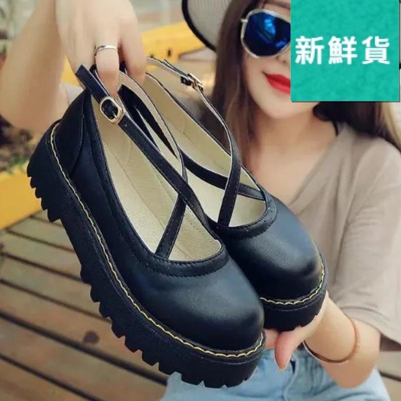 小皮鞋女英倫學院風松糕厚底軟妹洛麗塔lolita 系帶圓頭單鞋娃娃鞋