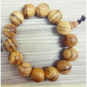 15mm 白沙沉木手珠佛珠念珠~歡喜地佛教文物~