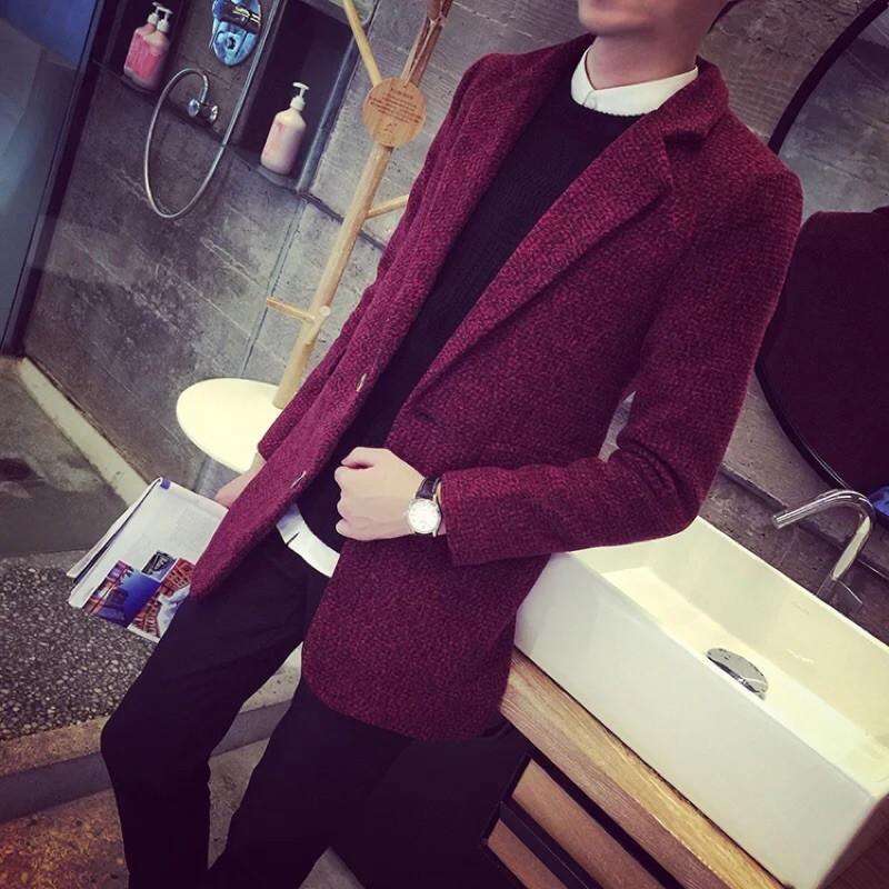 春 男士中長款毛呢風衣呢子外套 修身型青少年呢料大衣男裝