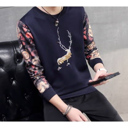2016 男士長袖T 恤圓領衛衣青年 潮流男裝修身上衣服裝